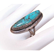 DESIGNER SIGNED Vintage NATIVE AMERICAN Sterling Silver & Indian Mountain Turquoise Ring!