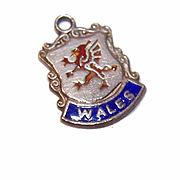 Vintage STERLING SILVER & Enamel Travel Shield Charm - Wales, England!