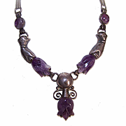 Vintage MEXICO SILVER & Carved Amethyst Necklace - Hand with Tulip Design!