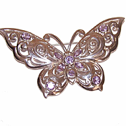 Vintage STERLING SILVER & Amethyst Pin/Brooch - Open Work Butterfly!