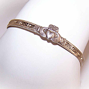 Child Sized VICTORIAN Sterling Silver Adjustable Bracelet with Claddagh!