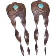 Vintage NATIVE AMERICAN Sterling Silver & Turquoise Hair Picks/Hair Ornaments!
