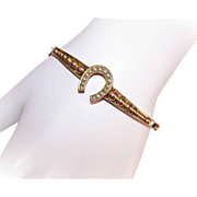 ANTIQUE VICTORIAN 14K Gold Bangle Bracelet with Lucky Horseshoe!