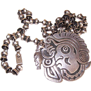 Vintage MEXICAN SILVER Pin/Pendant with Interesting Modernistic Chain by Tono!