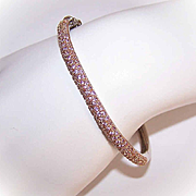 Lovely STERLING SILVER Vermeil Hinged Bangle with White Sapphires!