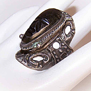 Vintage Adjustable MEXICAN Sterling Silver & Black Onyx Poison Ring!