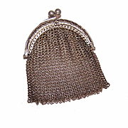 ANTIQUE EDWARDIAN Chain Mesh Coin Purse/Chatelaine Purse or Purse for a Doll!