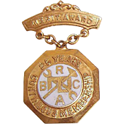 Vintage 10K Gold & Enamel Brotherhood of Railway Carmen Pin/Merit Award - 25 Years Continuous Service!