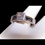 Vintage 14K Gold, 1.12CT TW Diamond & Sapphire Engagement Ring - Art Deco Revival!