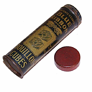 Great Graphics! ANTIQUE Tin Container for Blue Ribbon Bouillon Cubes!