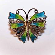 Vintage EUROPEAN 800 Silver & Enamel Filigree Pin/Brooch - Butterfly!