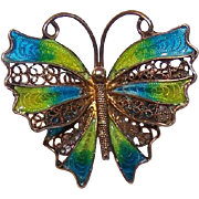 Vintage EUROPEAN 800 Silver & Enamel Filigree Pin/Brooch - Butterfly!