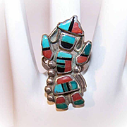 Vintage NATIVE AMERICAN (Zuni) Sterling Silver & MutiStone Inlay Ring - Kachina Dancer!