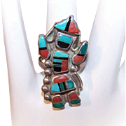 Vintage NATIVE AMERICAN (Zuni) Sterling Silver & MutiStone Inlay Ring - Kachina Dancer!