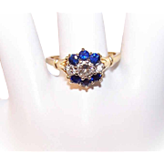 Vintage 14K Gold, 1.10CT TW Diamond & Blue Sapphire Engagement Ring!
