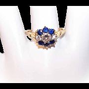 Vintage 14K Gold, 1.10CT TW Diamond & Blue Sapphire Engagement Ring!