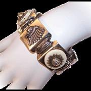 Fabulous SILVER TONE METAL Link Bracelet - Western America Inspired!