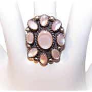 Vintage NATIVE AMERICAN Sterling Silver & Pink Mother of Pearl Ring!