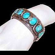 Vintage EFFIE C (Zuni) Sterling Silver & Turquoise Snake Cuff Bracelet!