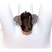 Vintage VICTORIAN REVIVAL Sterling Silver & Smoky Quartz Ring!