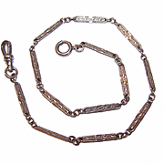 ANTIQUE EDWARDIAN White Gold Filled Fancy Link Watch Chain!