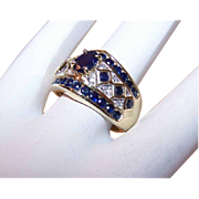 ESTATE 14K Gold, 1.45CT TW Diamond & Blue Sapphire Cocktail Ring!