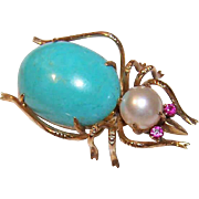 ESTATE 14K Gold, Ruby, Cultured Pearl & Turquoise Insect Pin/Bug Pin!