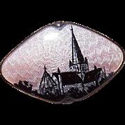 HTF C.1930 STERLING SILVER & Enamel Pin of a Church by Gustav Gaudernack, Norway!