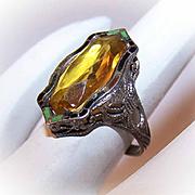 Art Deco STERLING SILVER, Enamel & Glass Rhinestone Filigree Ring!