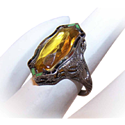 Art Deco STERLING SILVER, Enamel & Glass Rhinestone Filigree Ring!
