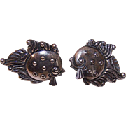 Vintage MEXICAN Sterling Silver Screwback Earrings - True Left & Right Fish!