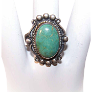 Vintage NATIVE AMERICAN Sterling Silver & Turquoise Ring by Bell Trading Post!