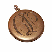 ANTIQUE EDWARDIAN Gold Filled Locket with Engraved Initials to Front!