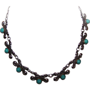Vintage TAXCO SILVER & Turquoise Panel Necklace!