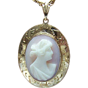VINTAGE 10K Gold & Pink Shell Cameo Pendant or Lavaliere!