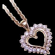 VALENTINE BEAUTY!  Vintage 14K Gold & 1CT TW Diamond Heart Shaped Pendant!