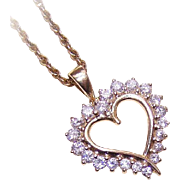 VALENTINE BEAUTY!  Vintage 14K Gold & 1CT TW Diamond Heart Shaped Pendant!
