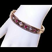 ART DECO 14K Gold, 2.35CT TW Diamond & Ruby Hinged Bangle Bracelet!