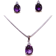 ESTATE 14K Gold, 7.63CT TW Amethyst & Diamond Set - Pendant and Earrings!