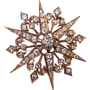 ANTIQUE VICTORIAN 14K Gold & 1.50CT TW Diamond Starburst Pin/Pendant Combo!