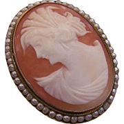 ITALIAN Sterling Silver, Glass Pearl & Cornelian Shell Cameo Pin/Pendant Combo!