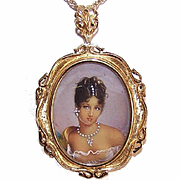 Vintage ITALIAN 18K Gold, Diamond & HP Portrait Miniature Pin/Pendant Combo!