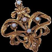 Lovely Victorian Revival 14K Gold & Opal Pin/Brooch!