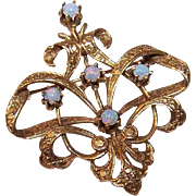Lovely Victorian Revival 14K Gold & Opal Pin/Brooch!