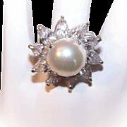 Vintage STERLING SILVER. Faux Pearl & White Rhinestone Fashion Ring!