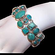 Vintage STERLING SILVER & Bezel Set Turquoise Link Bracelet!