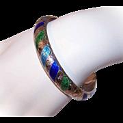 Vintage STERLING SILVER & Enamel Bangle Bracelet from Siam!