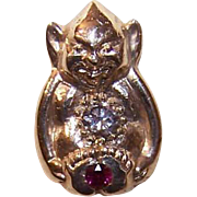 ANTIQUE EDWARDIAN 14K Gold, Diamond & Ruby Stick Pin - Billiken!