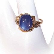 ART DECO Synthetic Blue Star & 10K Gold Sapphire Ring - Delightful Sparkle!