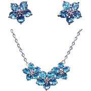 Vintage 10K Gold, 4.05CT TW Blue Topaz & White Sapphire Necklace & Matching Earrings!